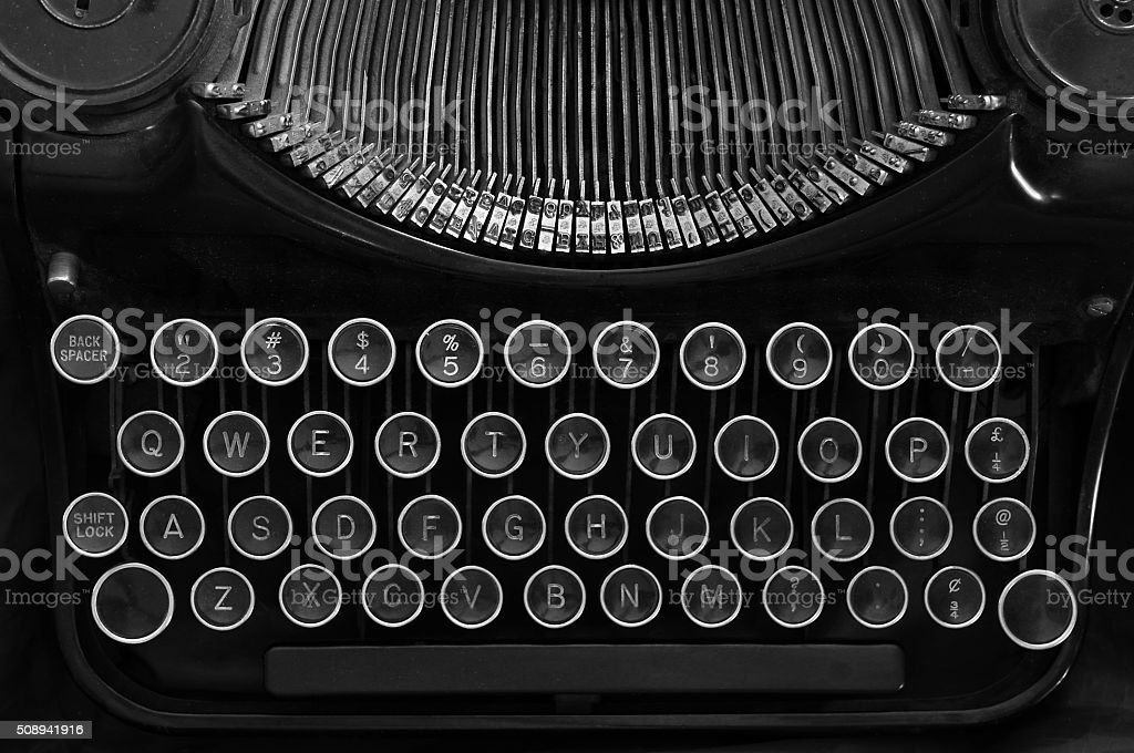 Typewriter black and white stock photo
