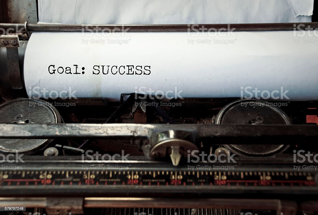 Typewriter caption: Goal: Success stock photo