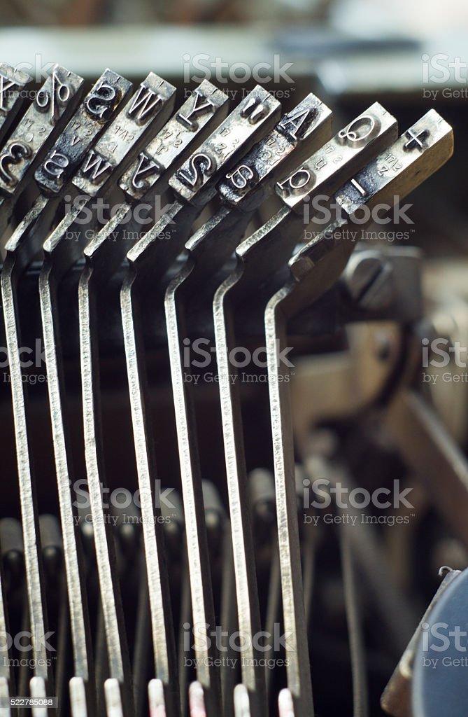 Typewriter characters close up old machine stock photo