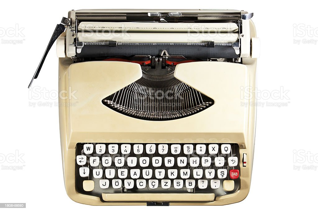 typewriter, cut out on white background royalty-free stock photo