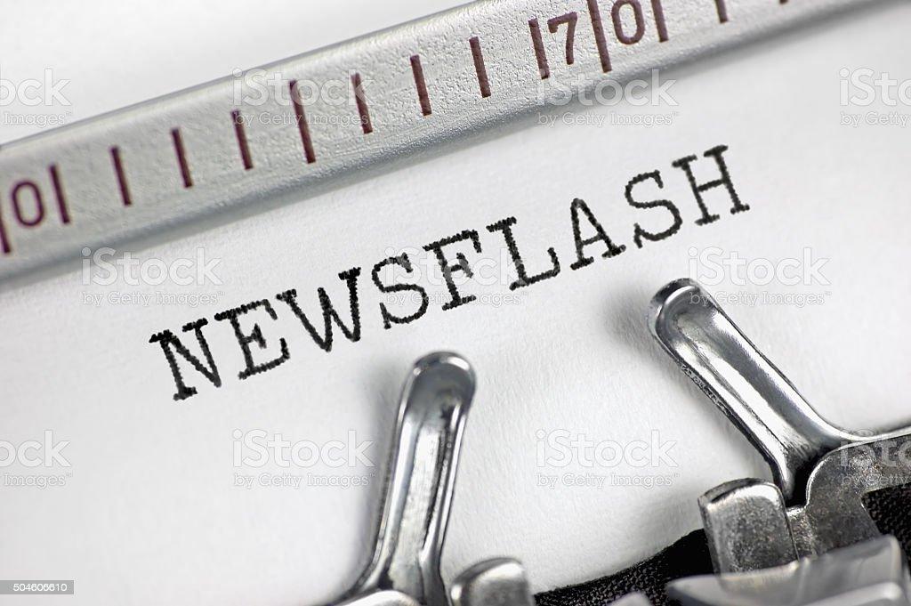Typewriter detailed macro closeup typing text Newsflash, large detailed concept stock photo