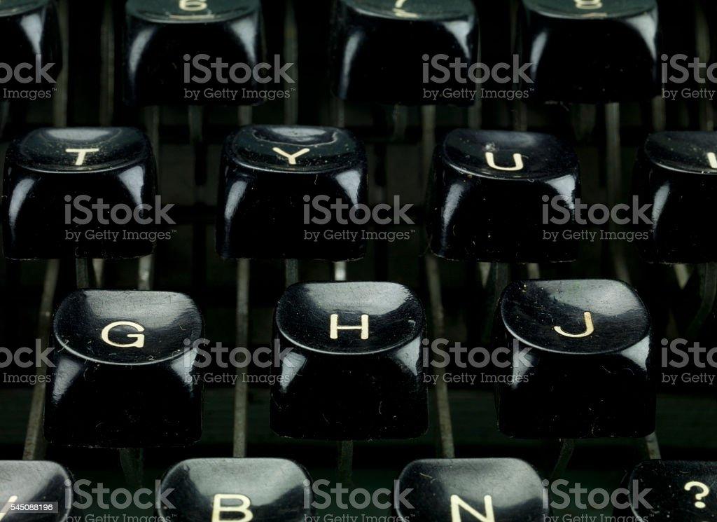 typewriter details stock photo