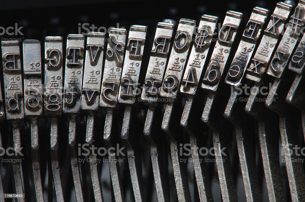 Typewriter hammers stock photo