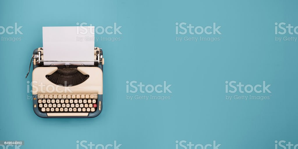 Typewriter header stock photo