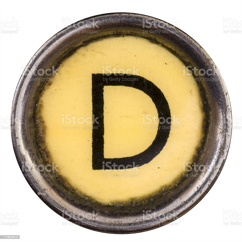 Typewriter key D stock photo