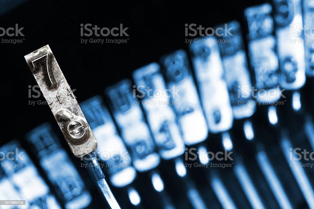 Typewriter key n. 7 stock photo
