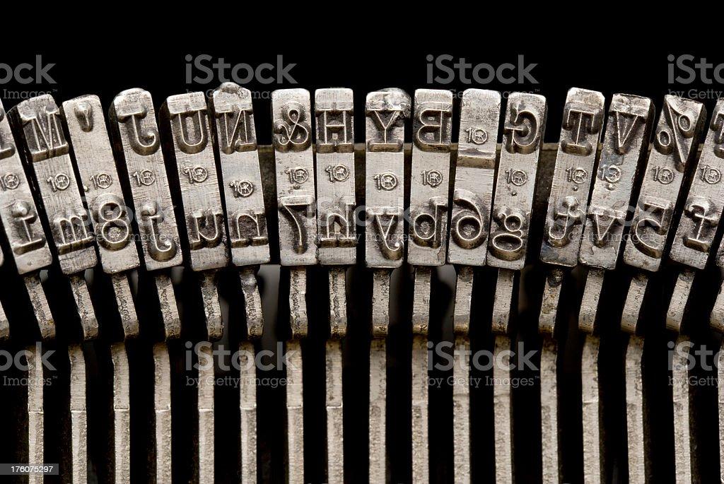 Typewriter Keyes, Close-Up. Full Frame. royalty-free stock photo