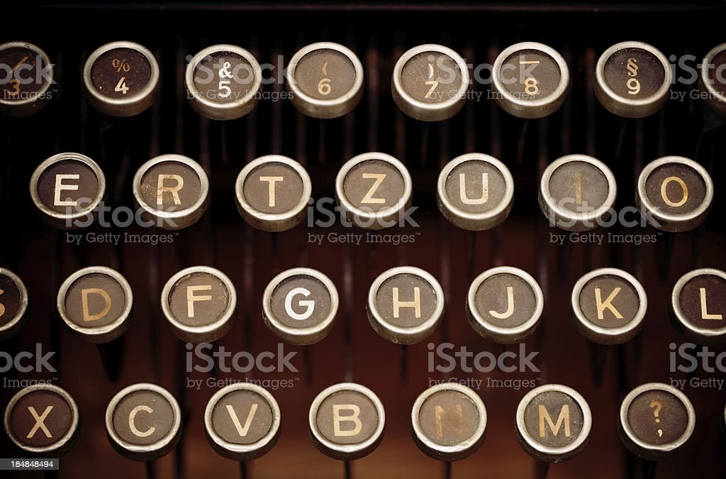 Typewriter keys, close-up royalty-free stock photo