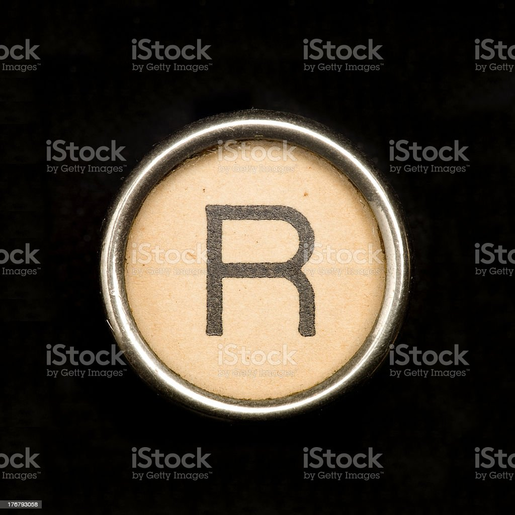 Typewriter letter R stock photo