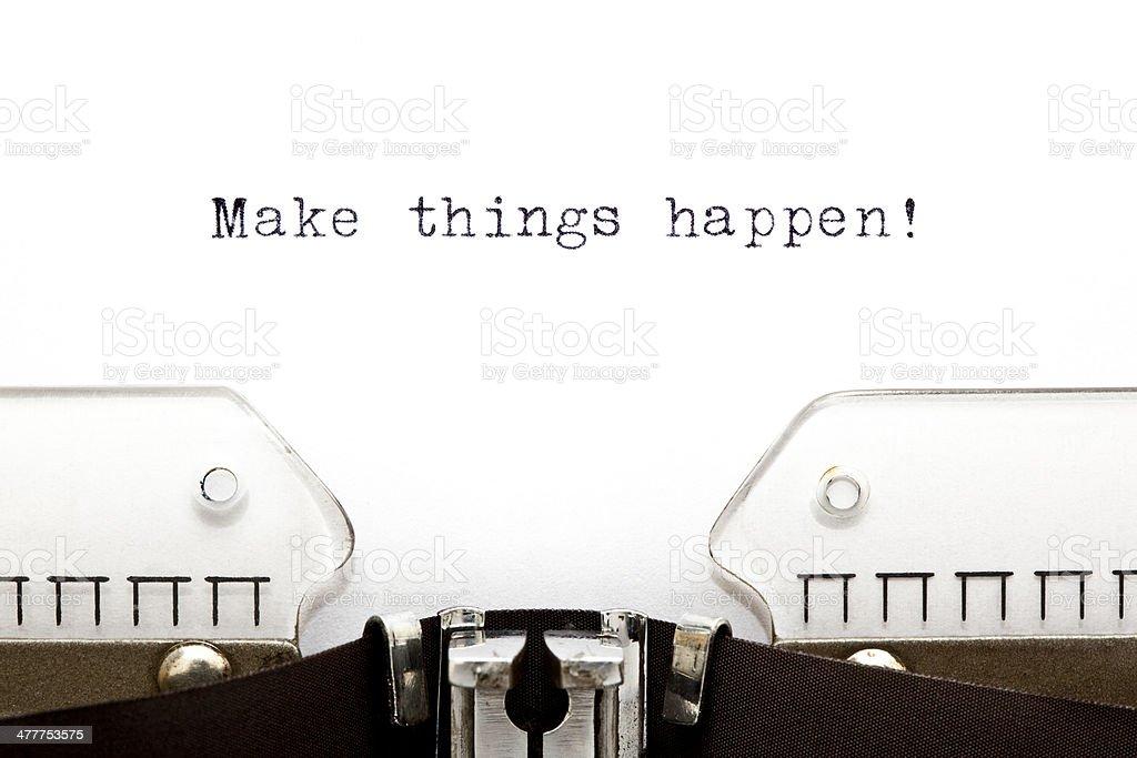 Typewriter Make Things Happen royalty-free stock photo