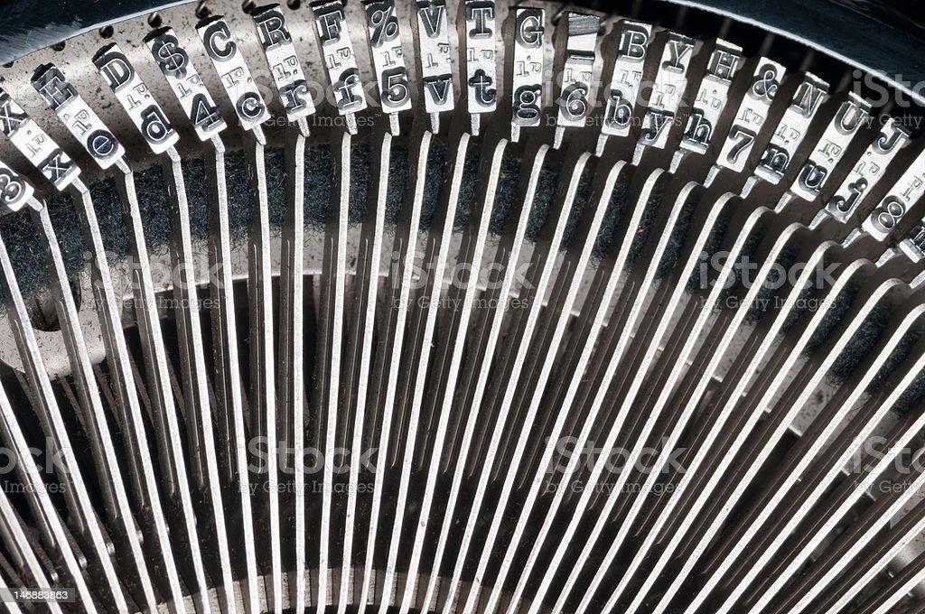typewriter mechanical keys curved closeup stock photo