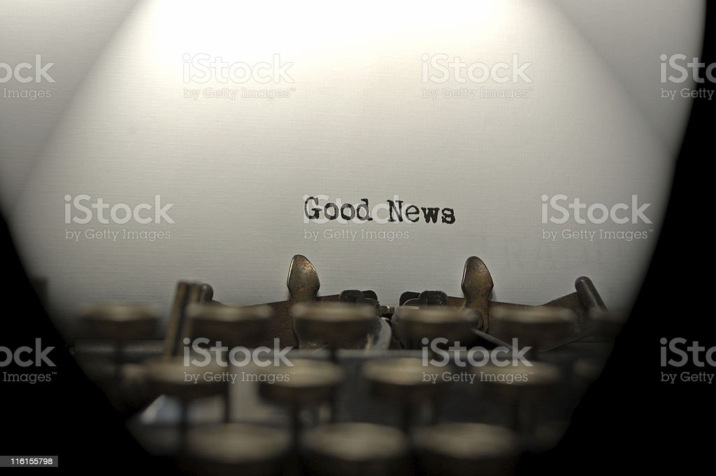 Typewriter paper that has Good News typed on it. royalty-free stock photo