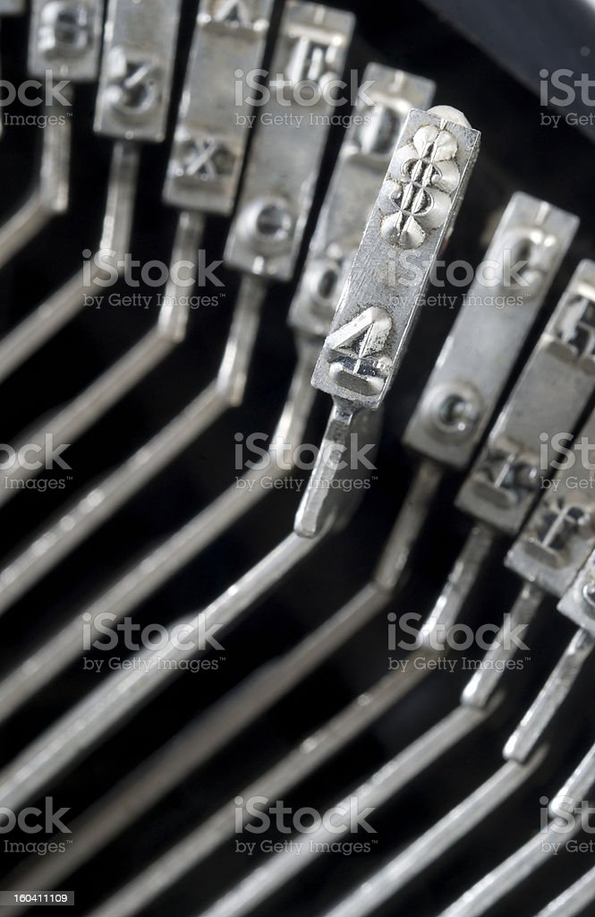 Typewriter Striker Heads Close up on Dollar Sign Typography royalty-free stock photo