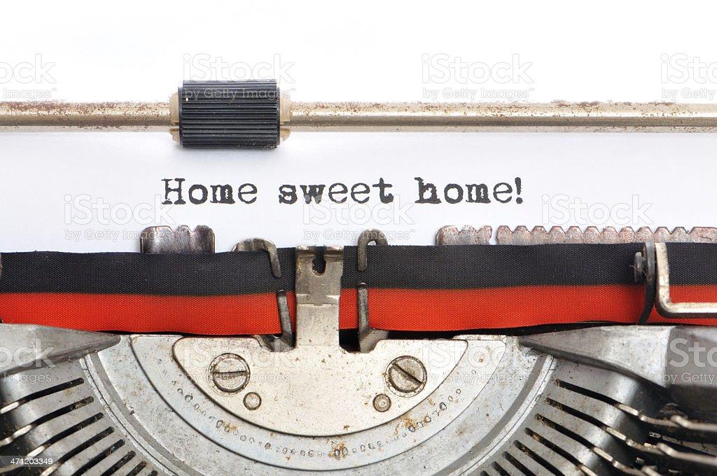 Typewriter - Sweet Home stock photo
