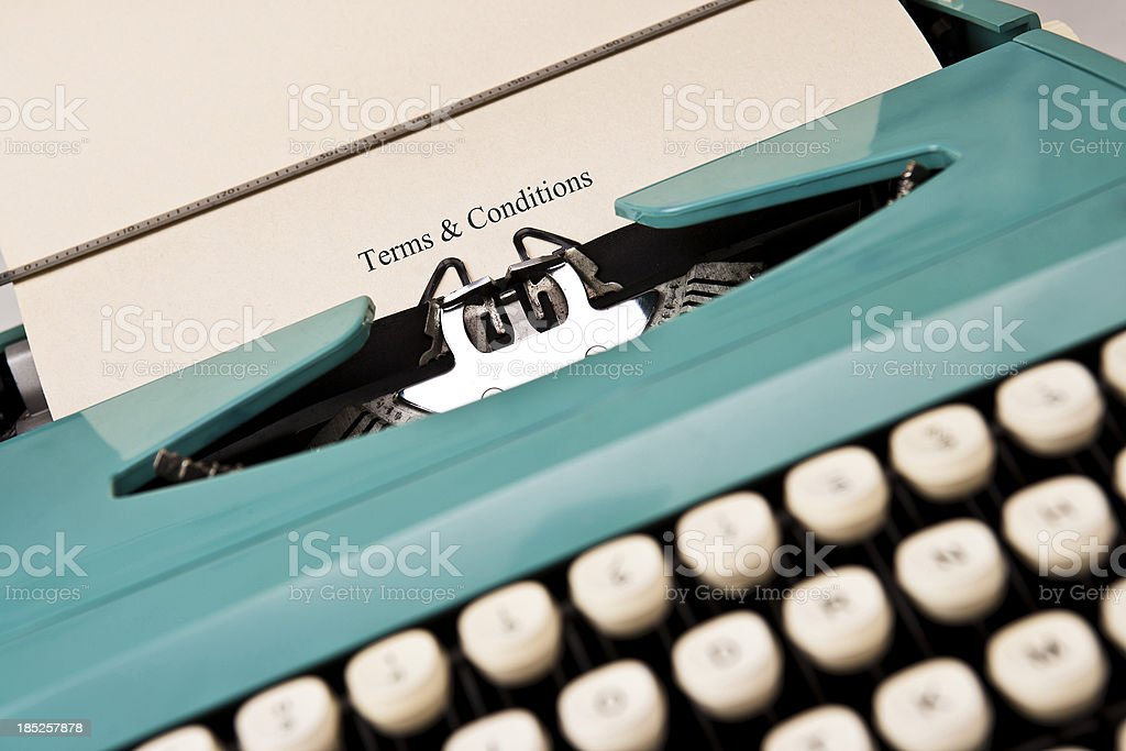 Typewriter Terms & Conditions stock photo