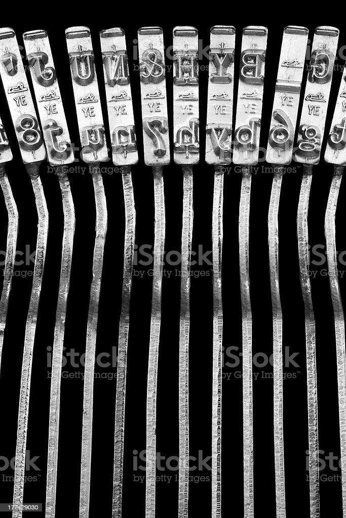 Typewriter typebars stock photo