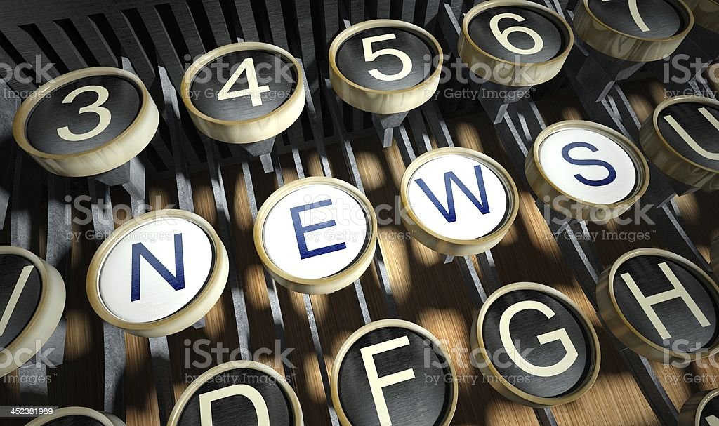 Typewriter with News buttons, vintage royalty-free stock photo