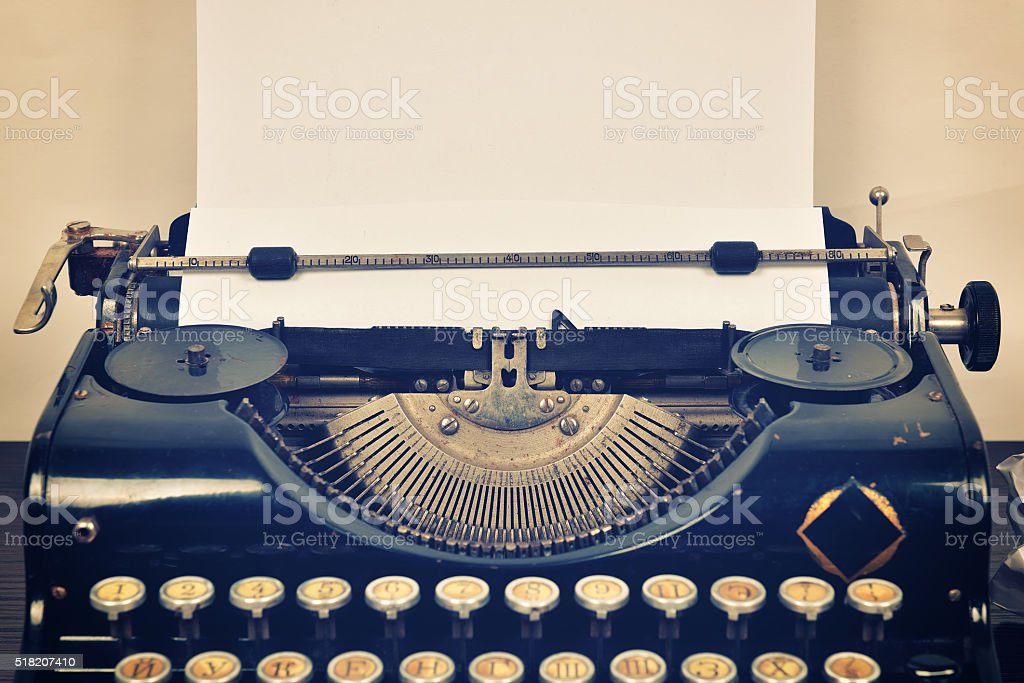 typewriter with paper stock photo