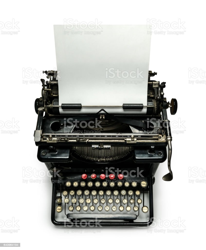 Typewriter with paper sheet isolated stock photo