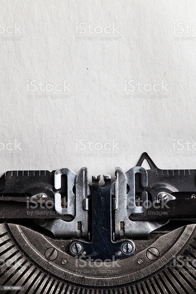 typewriter with paper sheet. Space for your text stock photo