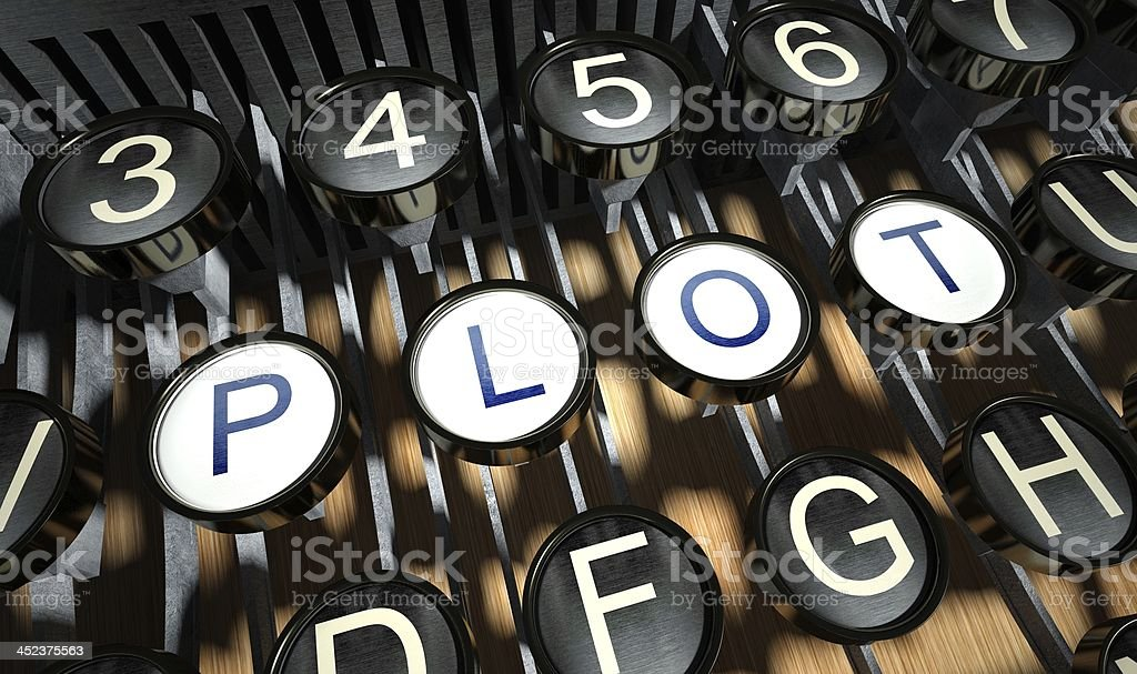 Typewriter with Plot buttons, vintage royalty-free stock photo