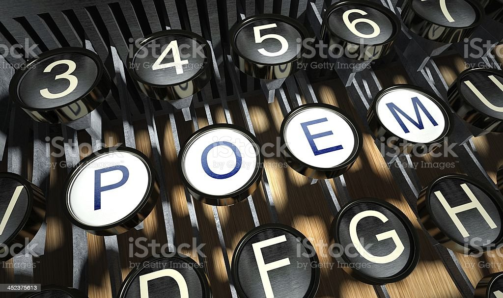 Typewriter with Poem buttons, vintage royalty-free stock photo