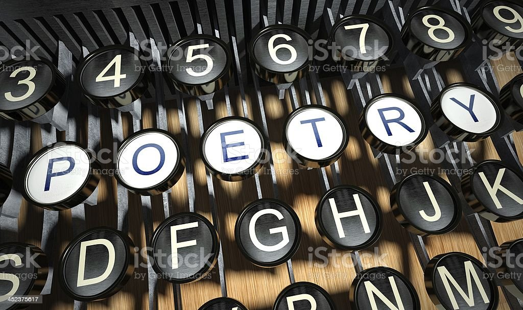 Typewriter with Poetry buttons, vintage stock photo