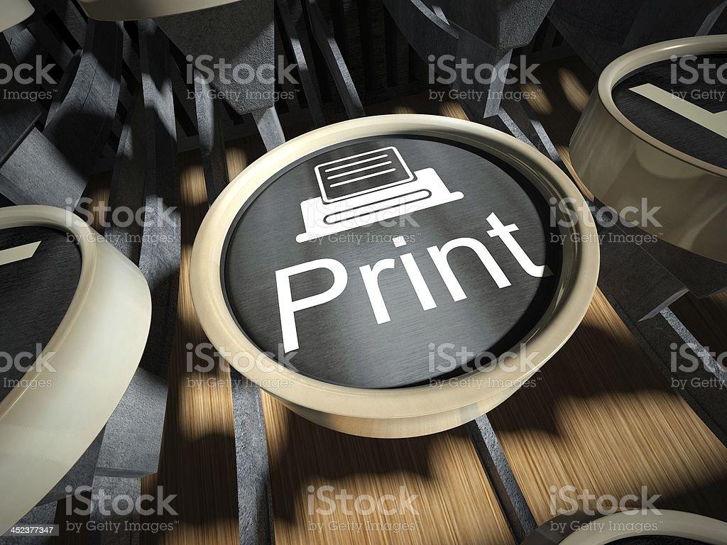 Typewriter with Print button, vintage royalty-free stock photo