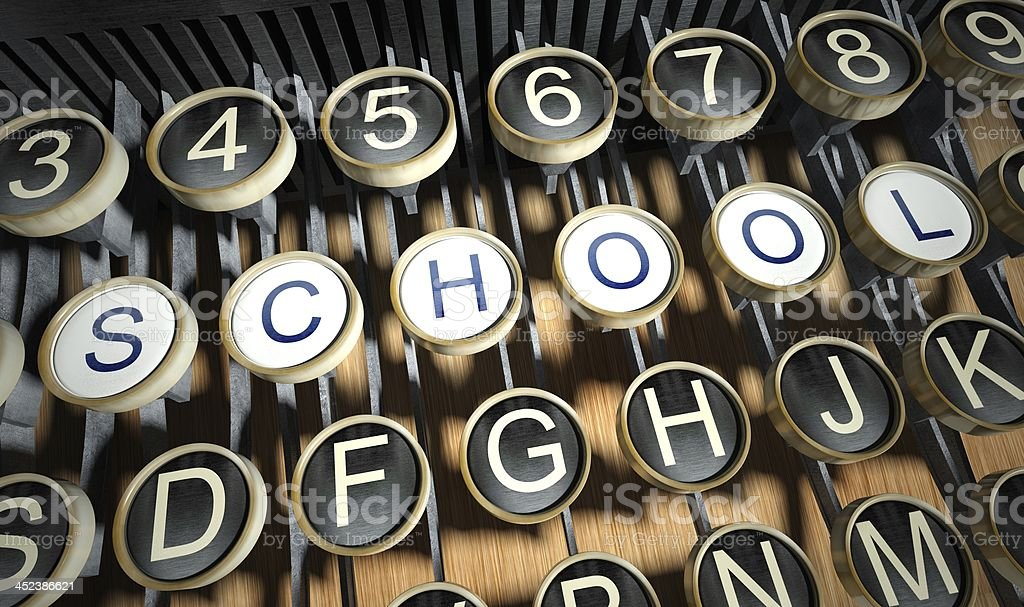 Typewriter with School buttons, vintage royalty-free stock photo