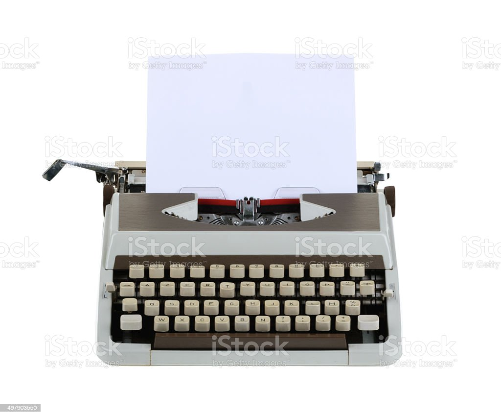 Typewriter with sheet of paper isolated on white background.whit stock photo