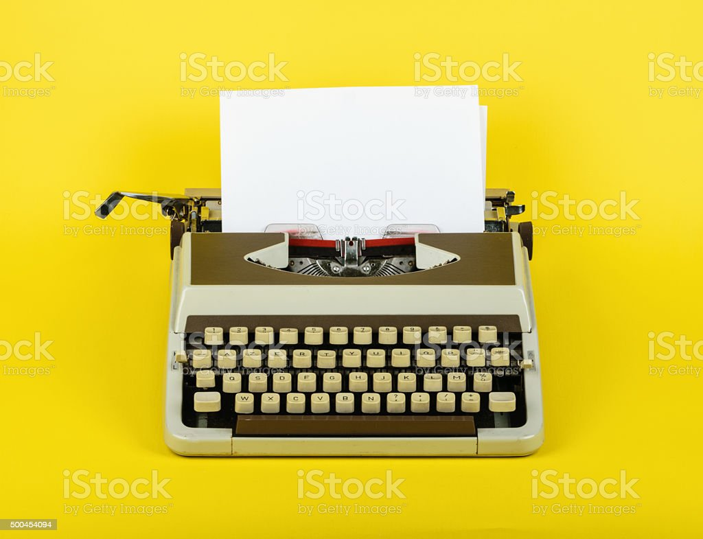 Typewriter with sheet of paper stock photo