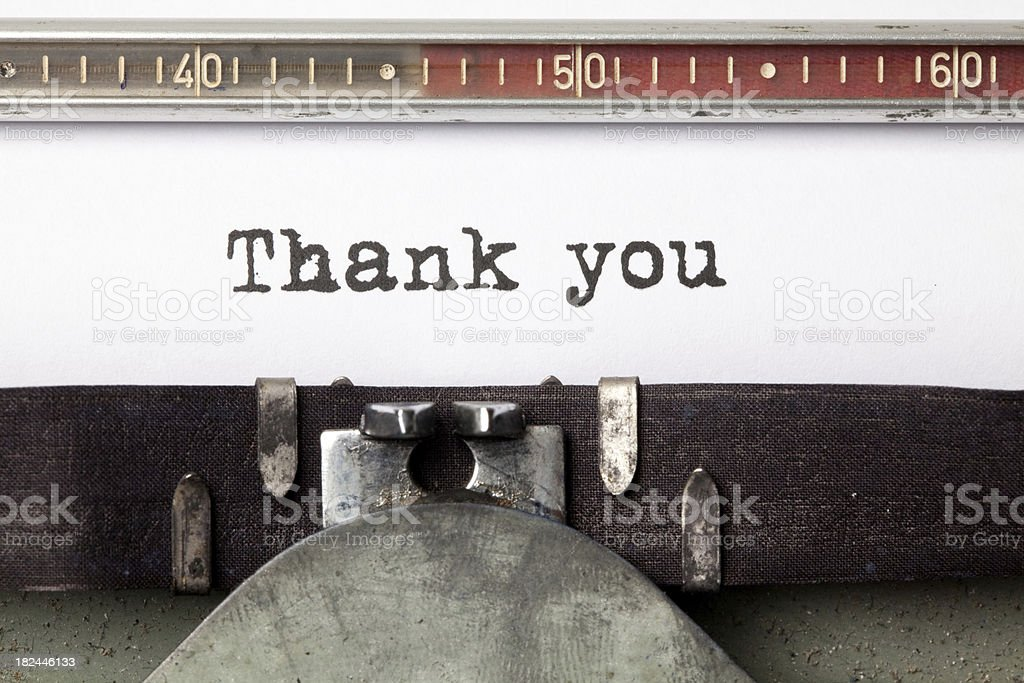 Typewriter with the words 'Thank You' royalty-free stock photo