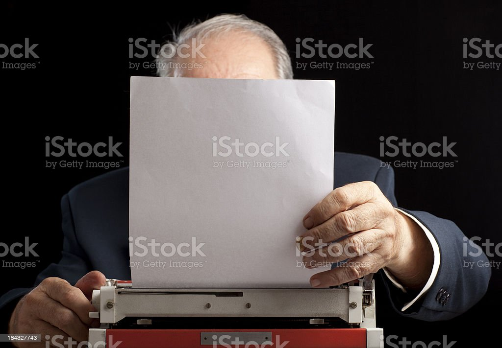 Typewriting man. royalty-free stock photo