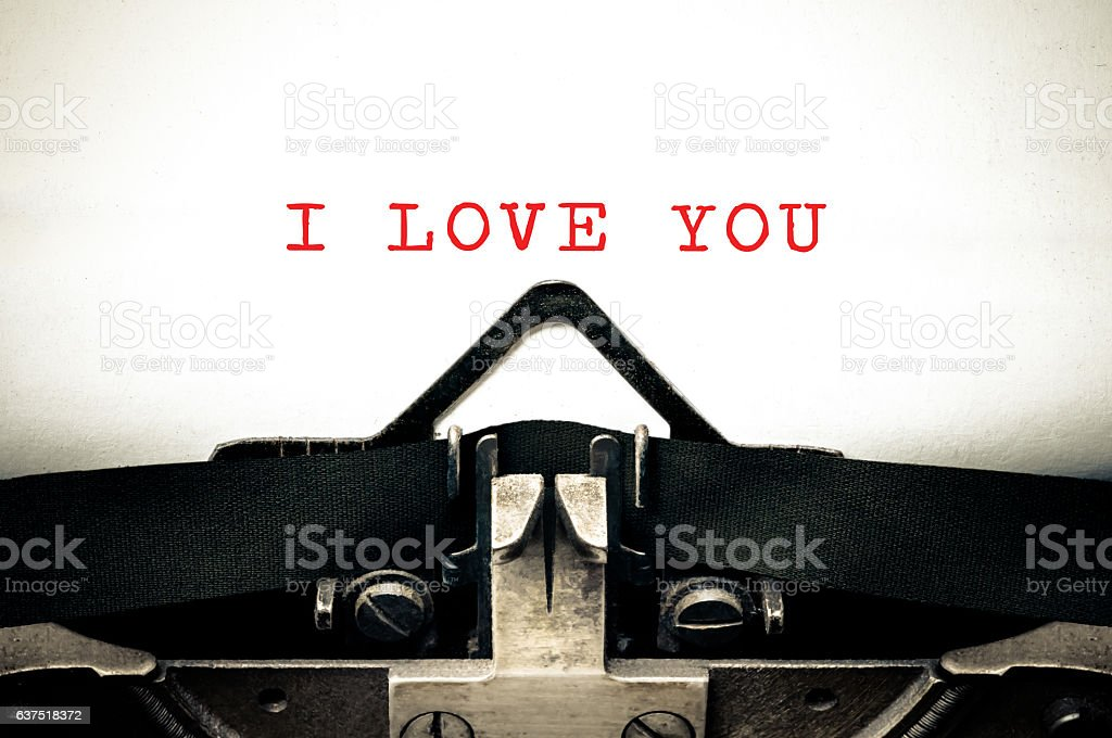 Typewritter with the phrase I Love You stock photo