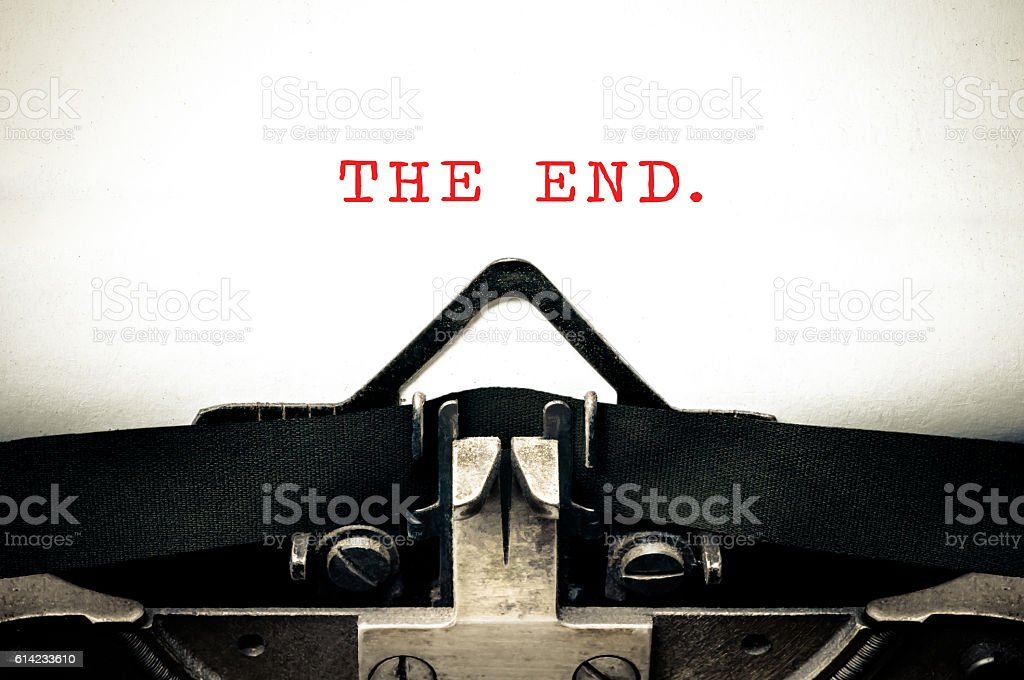 Typewritter with the phrase The End stock photo