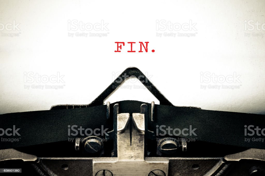 Typewritter with the spanish word FIN stock photo