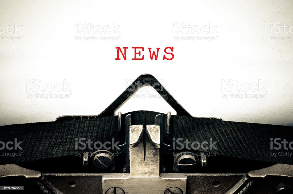 Typewritter with the word news stock photo