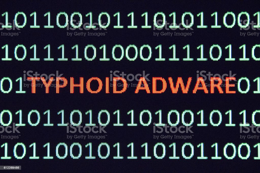Typhoid Adware in binary code stock photo