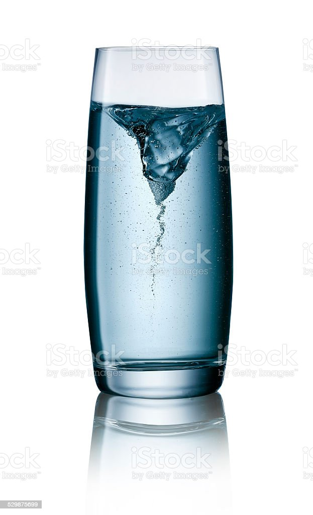 Typhoon in a glass of water with clipping path stock photo