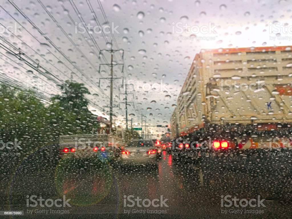 Typhoon on the road in southeast asia pacific stock photo
