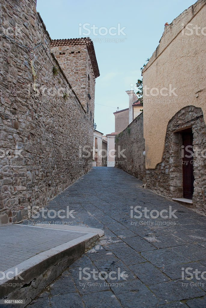 Typical alley to Agropoli village, Italy stock photo