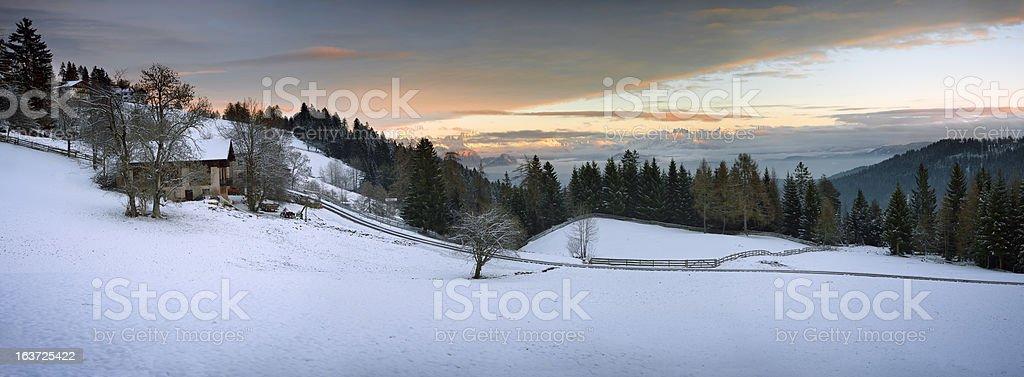 Typical alpine farmhouse, panoramic view XXXL royalty-free stock photo