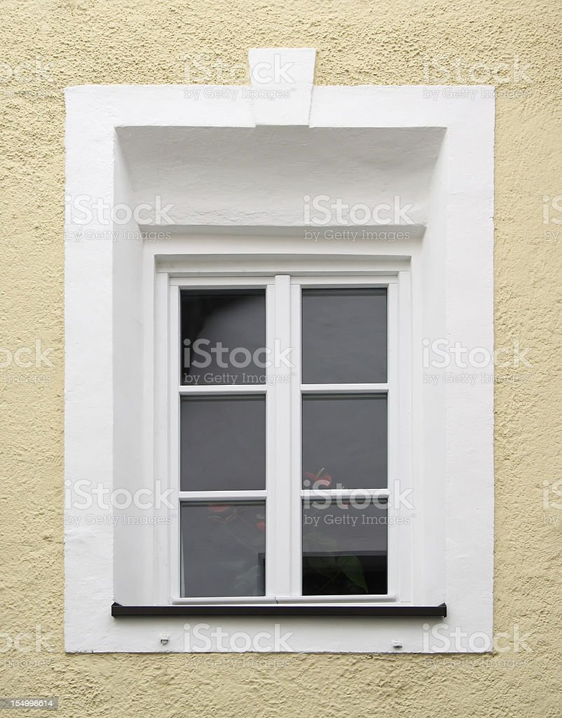 Typical alpine window frame decorated royalty-free stock photo