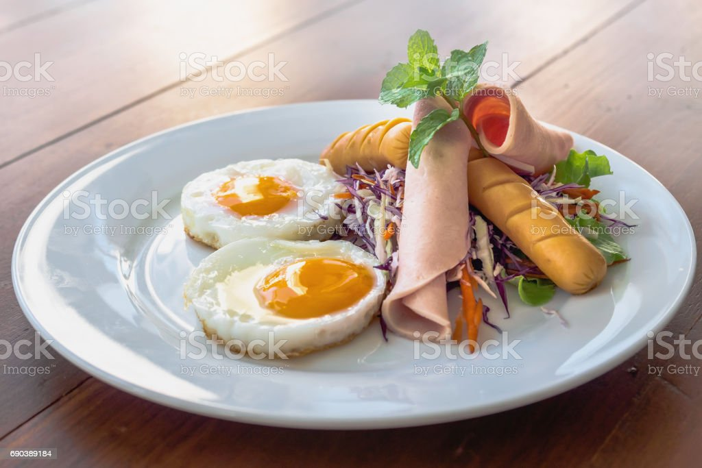 typical American hearty breakfast stock photo