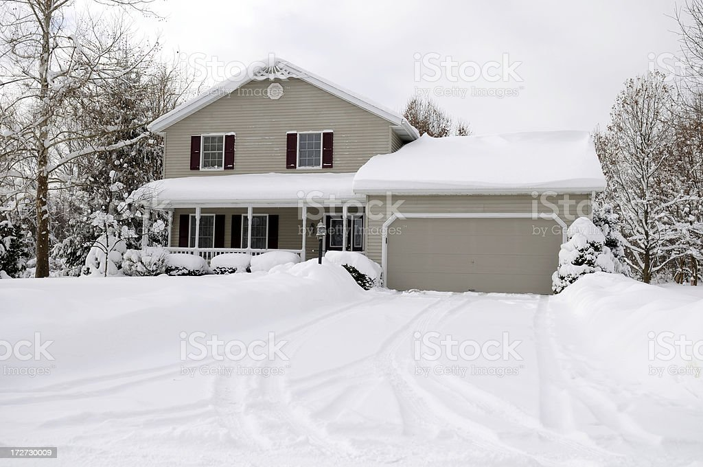 Typical American home in wintertime. stock photo