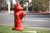 Typical american red fire hydrant