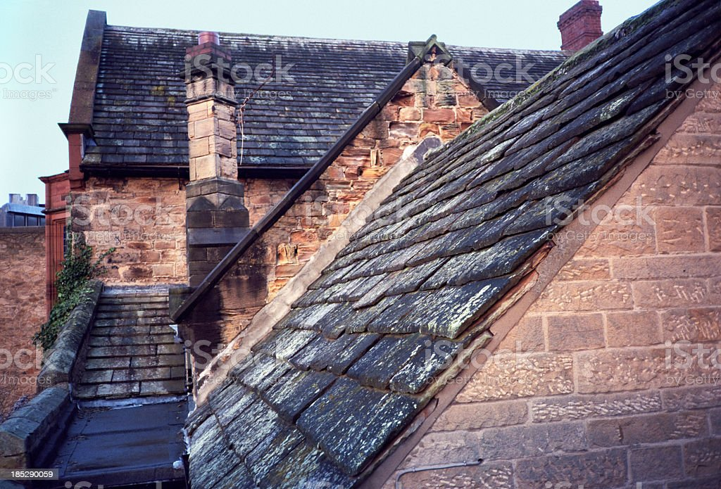 Typical and traditional old English rooftops stock photo