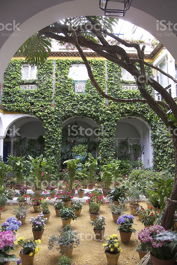 Typical andalusian courtyard In Seville, Spain. royalty-free stock photo
