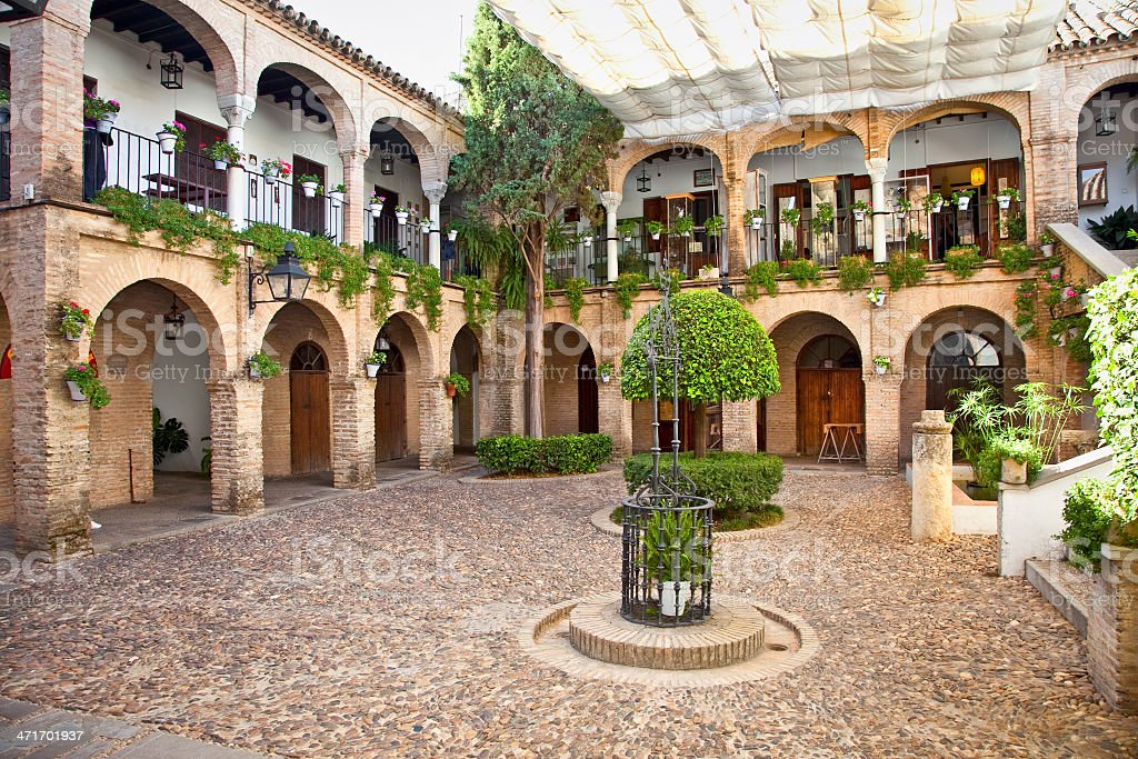 Typical andalusian mudejar courtyard In Seville, Spain. royalty-free stock photo