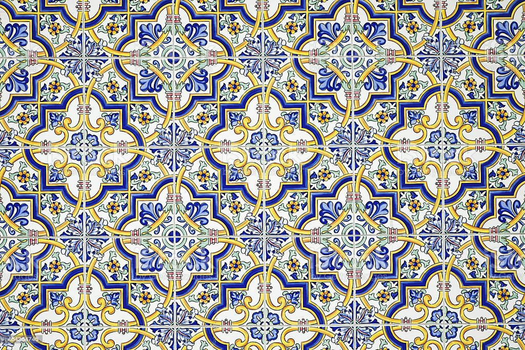 Typical andalusian tiled wall stock photo